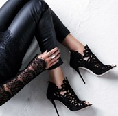 shoes,black,lace,heels,heel