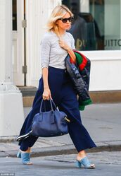 shoes,suede mule,mules,blue shoes,culottes,blue culottes,palazzo pants,wide-leg pants,blue pants,top,grey top,bag,blue bag,sunglasses,cat eye,sienna miller,celebrity,celebrity style