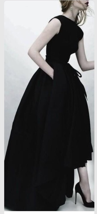 dress black long formal prom gown