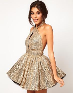 Miss francesca couture sequin halter prom dress at asos