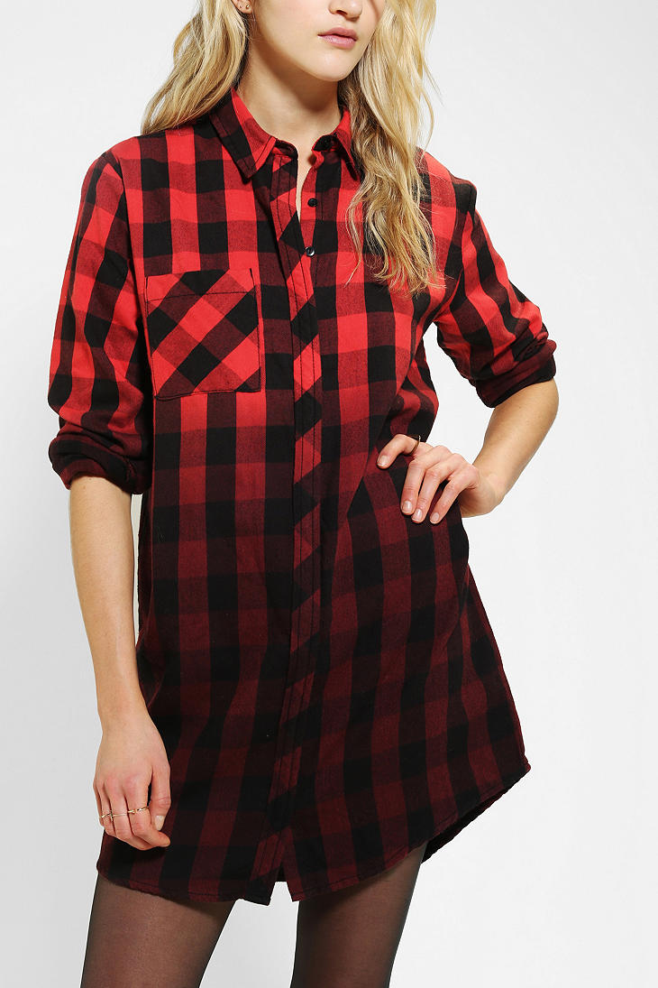 BDG Fade Away Plaid Shirtdress - Urban Outfitters