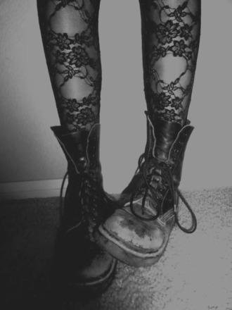 pants tights floral tights shoes combat boots black boots underwear grunge punk black boots black lace flowers pop rock cute