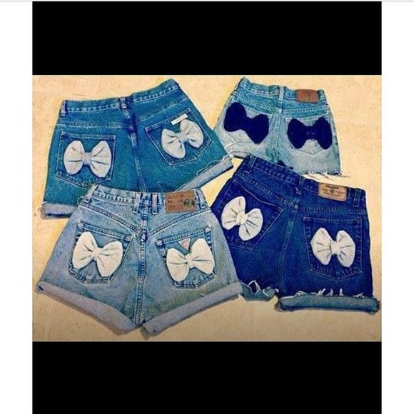 denim bows denim shorts