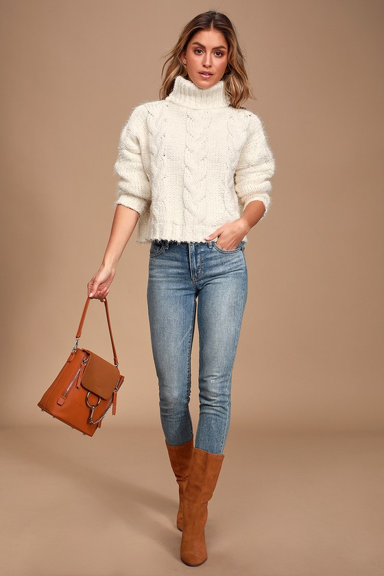 Sage the Label Celestial - Ivory Cable Knit Sweater - Turtleneck