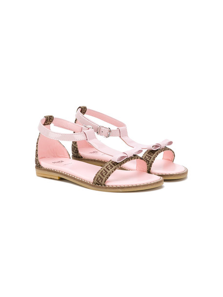 Fendi Kids bow sandals leather purple pink shoes