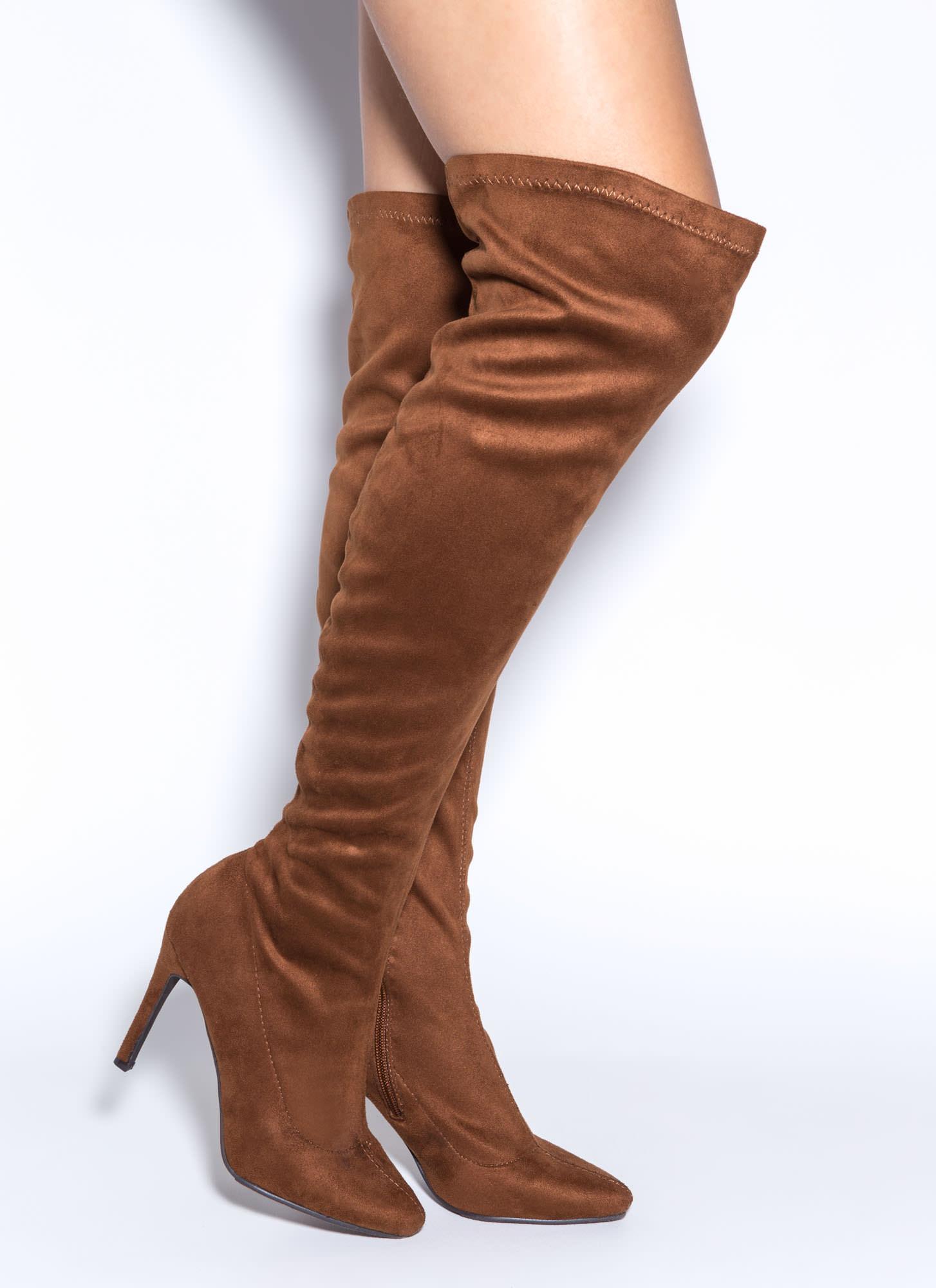Trip Over-The-Knee Boots BLACK TAN - GoJane.com