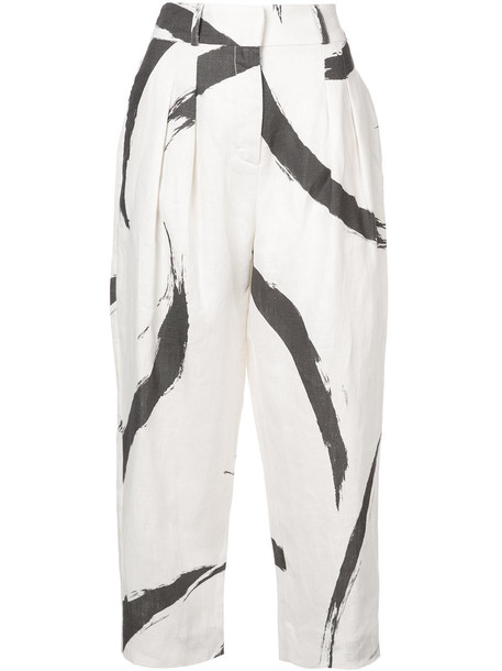 high women white print pants