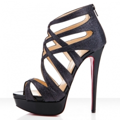 Christian Louboutin Multi Strap Black Glitter Sandals,Purple Heels Shoes