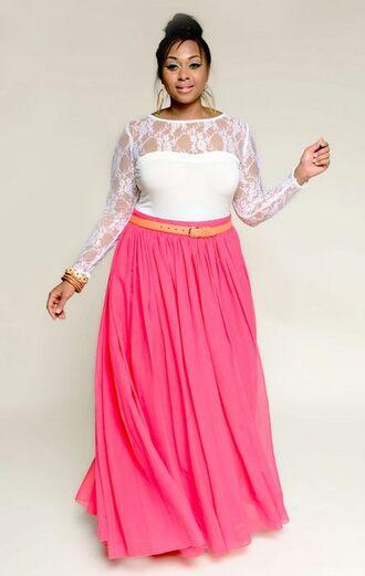 blouse lace top mesh floral donna ricco cheap white plus plus size skirt curvy maxi skirt pink