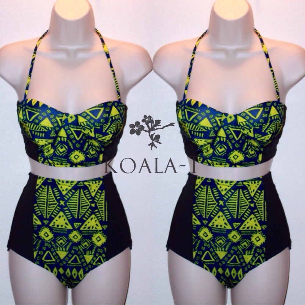 Blue/Yellow Tribal Print Corset Top & High Waist by KoalaTFashion