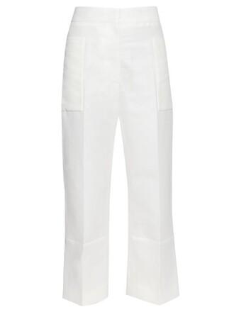 cropped cotton white pants