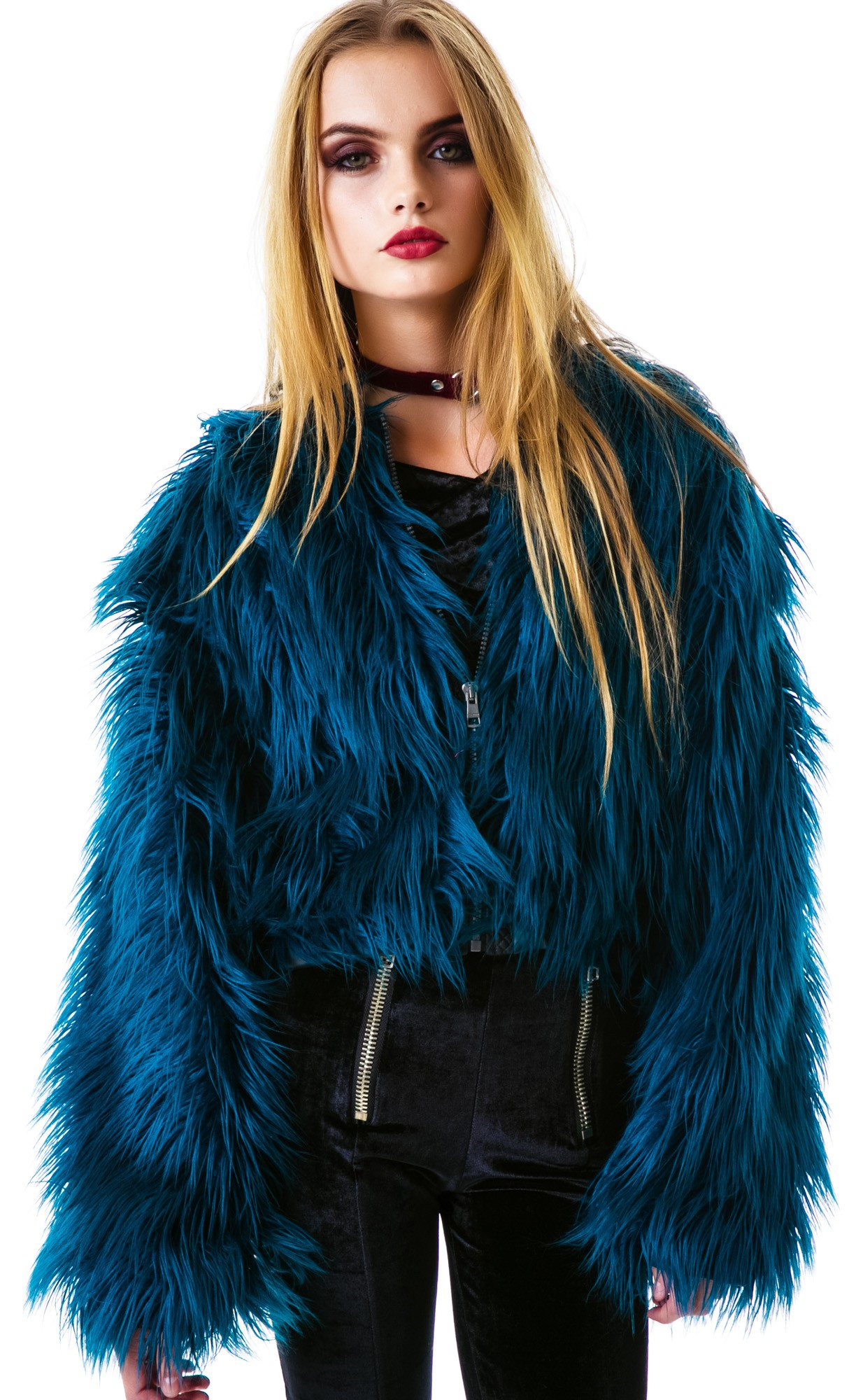 Images of Blue Fur Jacket - Reikian