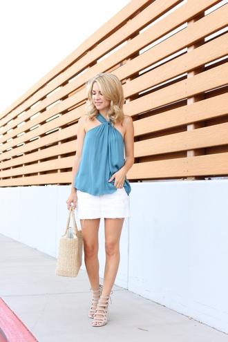 skirt mini skirt denim skirt white denim skirt chocker top halter top sandals tote bag blogger style blogger