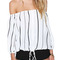 Black white vertical stripe off shoulder casual top