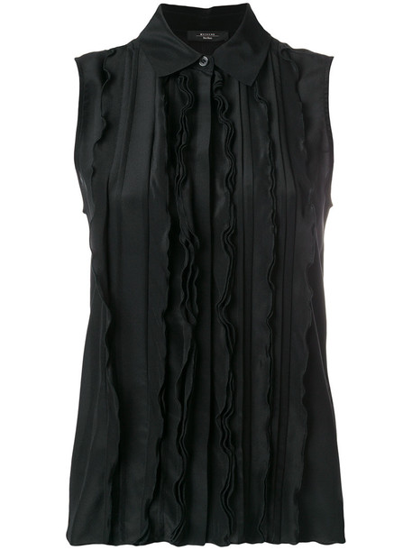 Max Mara blouse women spandex black silk top