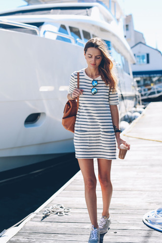 prosecco and plaid blogger jewels sunglasses striped dress stripes mini dress backpack grey sneakers aviator sunglasses dress stripes blue white dress summer blue and white summer dress