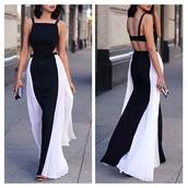 cut-out dress,backless dress,evening dress,formal dress,black and white dress,black and white,long dress,long prom dress,elegant dress,elegant,chiffon dress,dress,black,white,striped dress