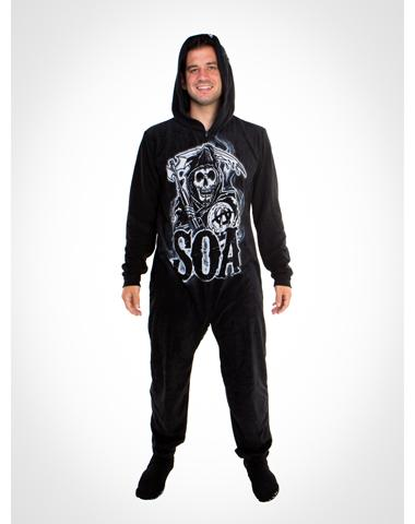 Sons of anarchy hooded footed adult pajamas