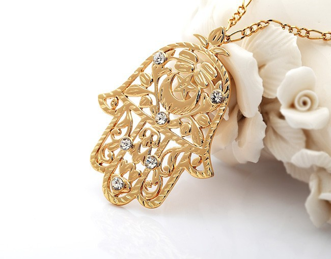 Big Size Fashion Hamsa Hand Pendant For Women Or Men 18K Gold Plated Crystal Kabbalah Judaica Necklaces & Pendants Jewelry P313-in Pendant Necklaces from Jewelry on Aliexpress.com