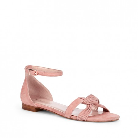 Women's Rosette Suede 1/4 Inch  Knotted Suede Sandal   Gracee by Sole Society