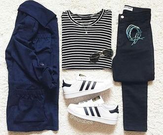 shoes shirt stripes striped shirt white adidas adidas shoes sunglasses blue black jeans arm cuff