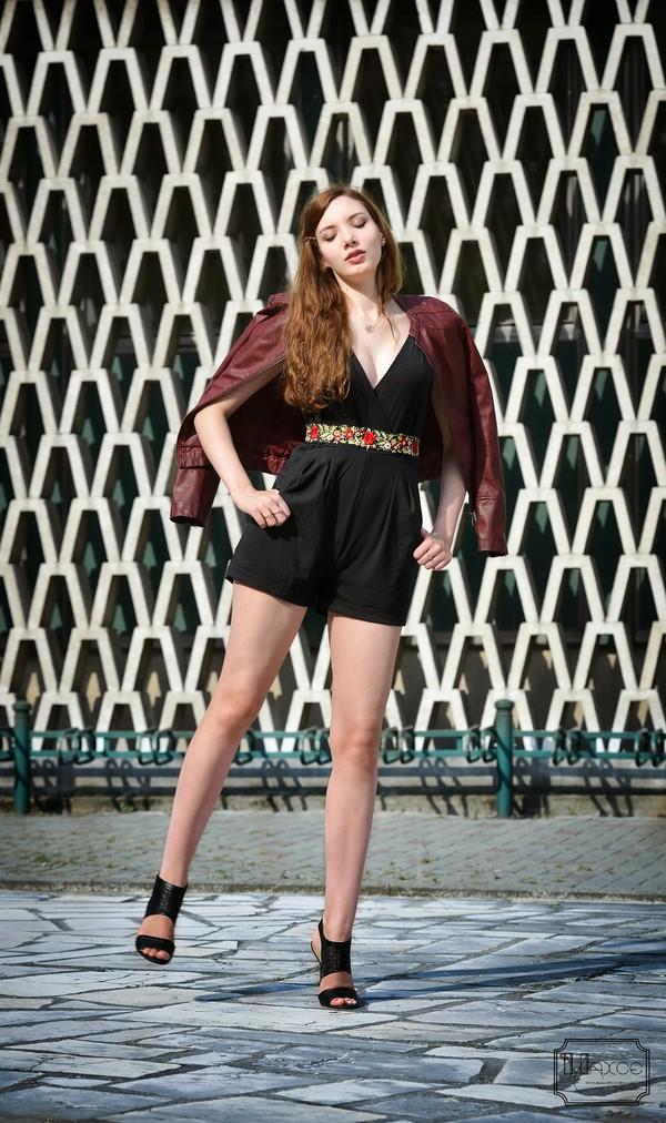maxce blogger jumpsuit belt jacket bag