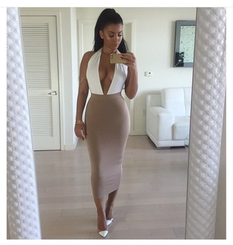 skirt cute top bodysuit style outfit two-piece white top high heels shoes cute high heels ear piercings earrings jewels accessories high waisted skirt halter top top