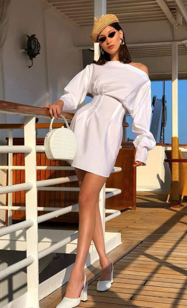 dress white white dress all white everything bella hadid model off-duty instagram mini dress purse hat