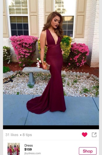 dress red wine burgundy mermaid prom dress backless open back red