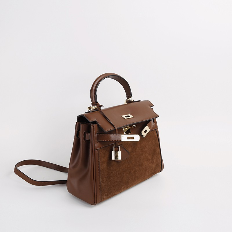 Brown Genuine Leather Chic Handbag with Gold Lock