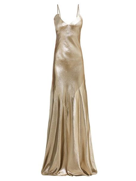 Rebecca De Ravenel - Lamé Braided Strap Floor Length Gown - Womens - Gold
