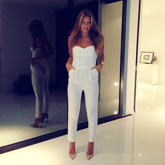 dress white jumpsuit romper pants nice white white high heels gold tan hair one piece jumpsuit high heels shoes trouser pretty jumpsuite elegant elegant outfit strapless