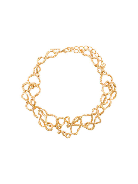 oscar de la renta women necklace gold grey metallic jewels