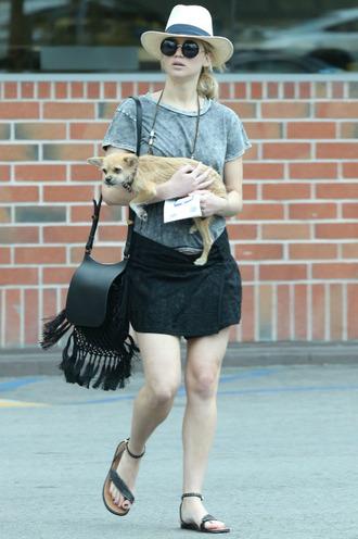 skirt hat top jennifer lawrence sandals