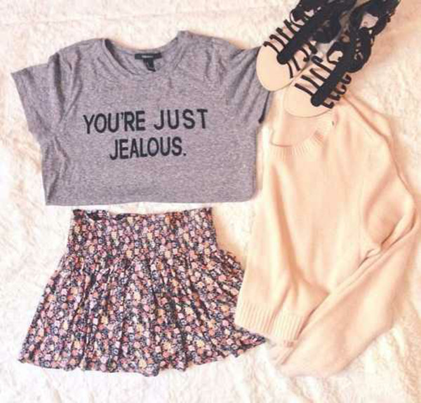 sandals skirt quote on it you're just jealous grey fashion style skater t shirt print sweater t-shirt floral skater skirt floral
