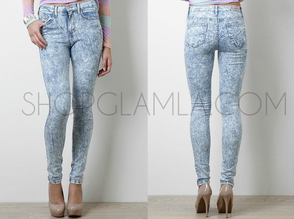 High Waist Acid Mineral Wash Light Blue Skinny 80s Destroyed Jeans Pants 8188 | eBay