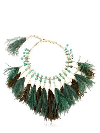 necklace gold green jewels