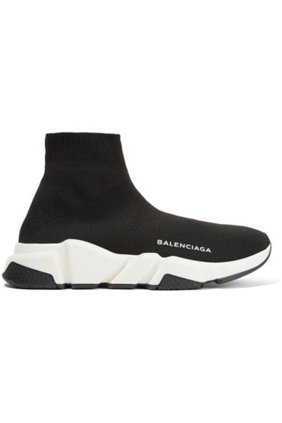 high sneakers black knit shoes