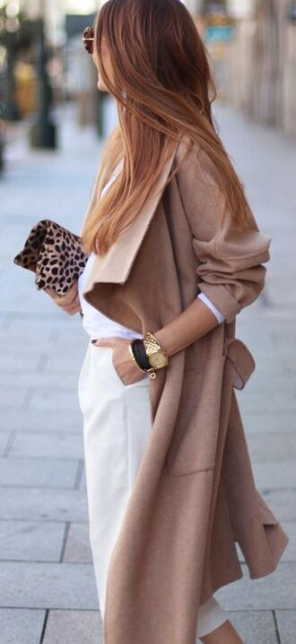 coat white and beige outfit white and beige pants white pants top white top winter outfits winter look beige coat pouch leopard print watch tumblr