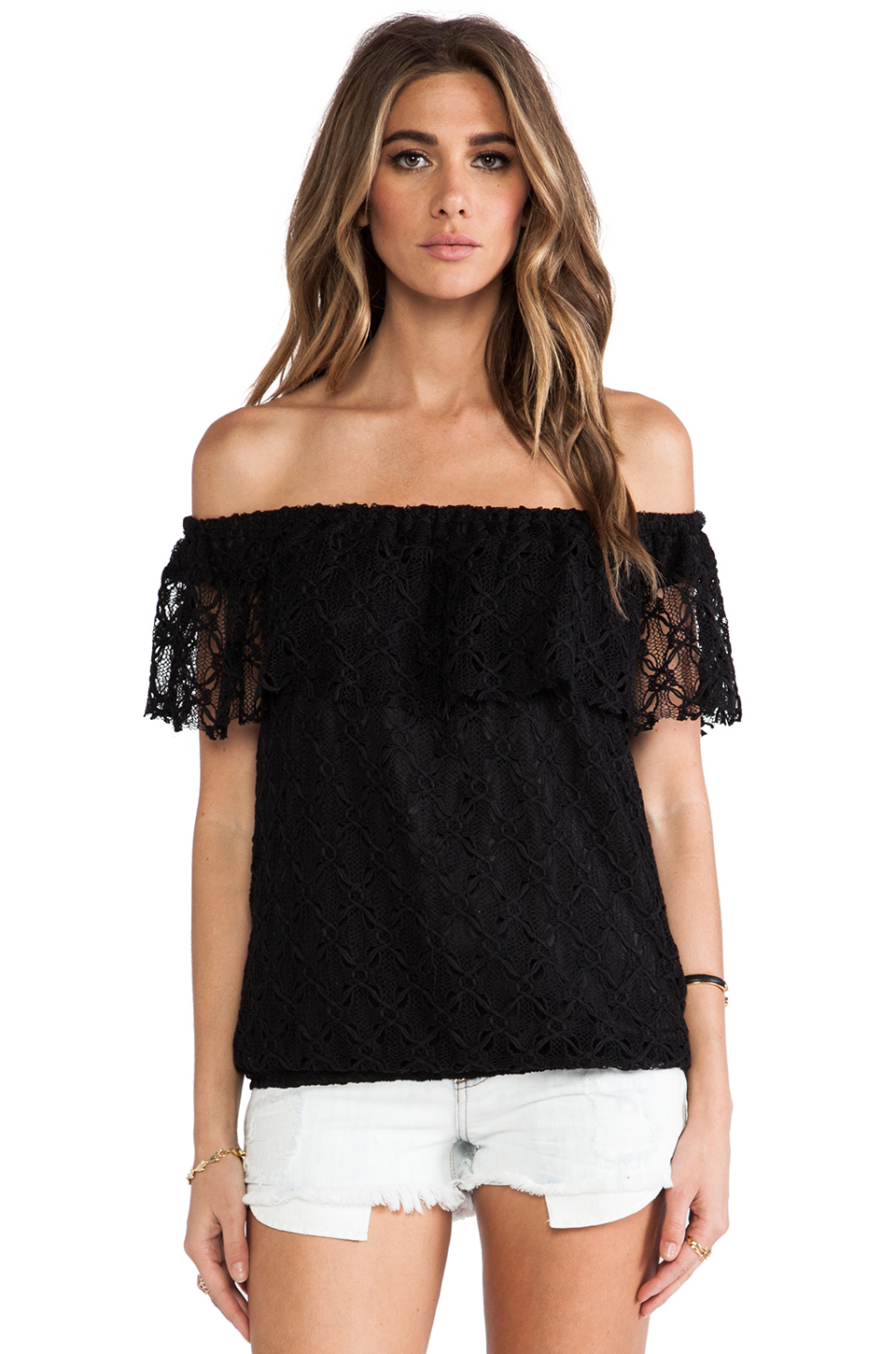T-Bags LosAngeles Off The Shoulder Lace Top in Black | REVOLVE