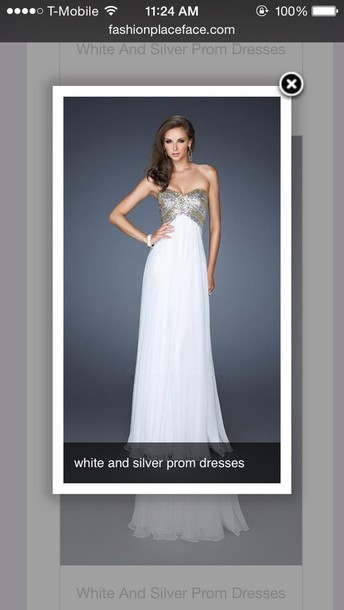 dress white dress silver gold long dress prom dress