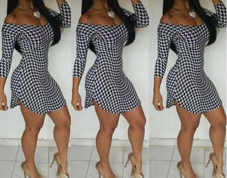 dress new hot ootd clothes series high-low dresses winter outfits winterdress hoop earrings houndstooth houndstooth dress cloe what she wore we wanna nicki minaj worn on tv basketball wives la draya michele love and hip hop hollywood joseline hernandez