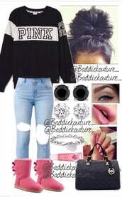 sweater,pink,sweatshirt,black,white,black and white,hair accessory