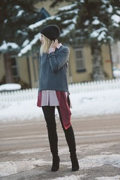 damsel in dior,blogger,grey sweater,thigh high boots,silk scarf