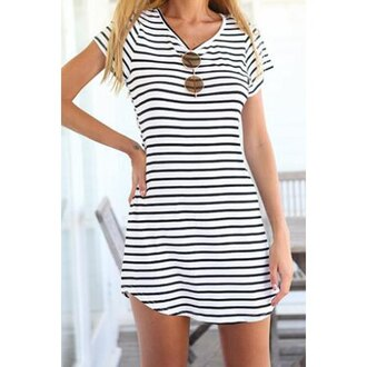 dress fashion style cute dress beautiful girly edgy trendy pretty cute sexy sleeveless cool clothes summer outfits summer dress summer stripes striped dress short dress gorgeous gorgeous dress pretty little liars black and white dress black and white