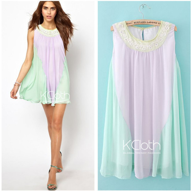 dress kcloth fashion women two tone midi dress chiffon dress mint