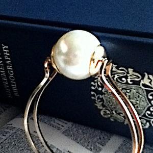 Oversized jumbo pearl bangle bracelet designer inspired gold minimalist ott