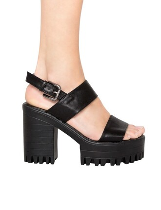 shoes cute open toes black black shoes summer outfits chunky heels platform shoes fashion style flatforms grunge chunky sole pixie market pixiemarket dress new trend trendy street goth