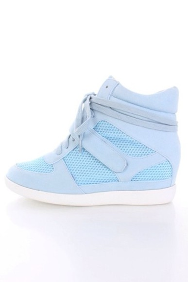 shoes baby blue sneakers wedges cute blue shoes