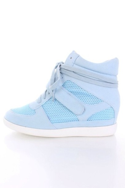 shoes baby blue sneakers wedges blue shoes